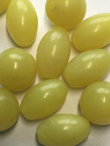 Butter Jade Semi-Precious Stone Oval and Round Beads, 8 x 12 mm, and 10 mm - 12 Beads