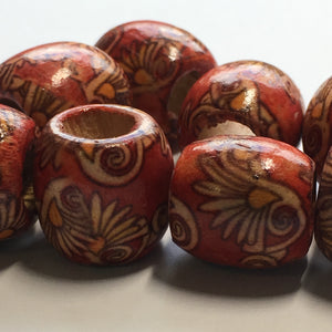 Red Painted Wooden Barrel Beads, 16 mm, 8 Beads