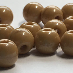 Brown with Slight Brown Ring Around Center Glass Round Beads , 7 mm - 17 Beads