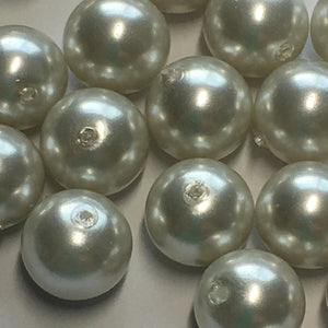 White Pearl Glass Round Beads, 8 mm, 30 Beads