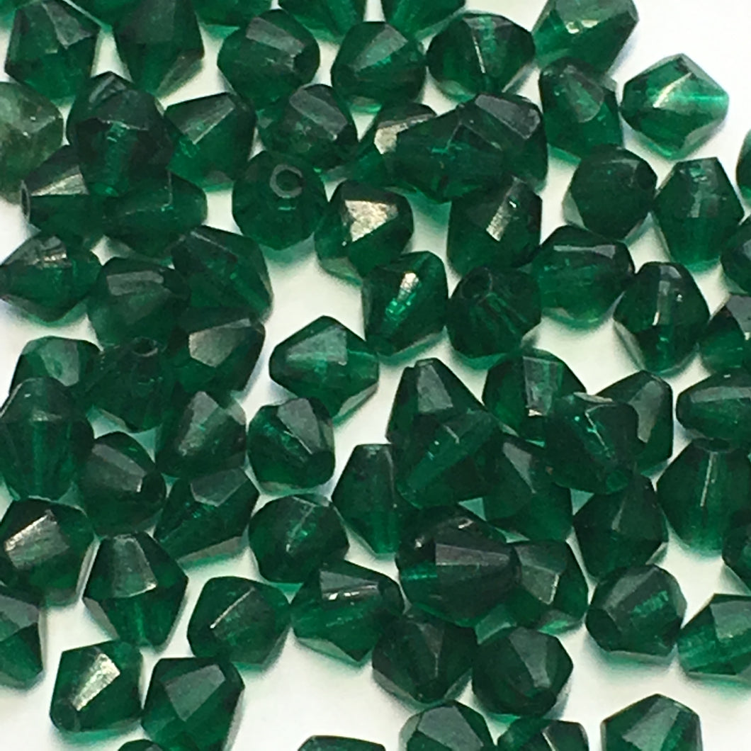 Transparent Green Glass Bicone Beads, 4 mm, 50 Beads
