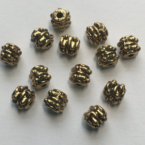 Antique Gold (Light) Finish Bali Style Barrel Beads, 5 x 5 mm - 13 Beads