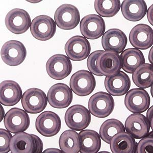 Czech O Bead 3.8 x 1 mm 03000-15726 Chalk White Lilac Vega Luster Beads (Circle, Zero, Donut) - 5 gm