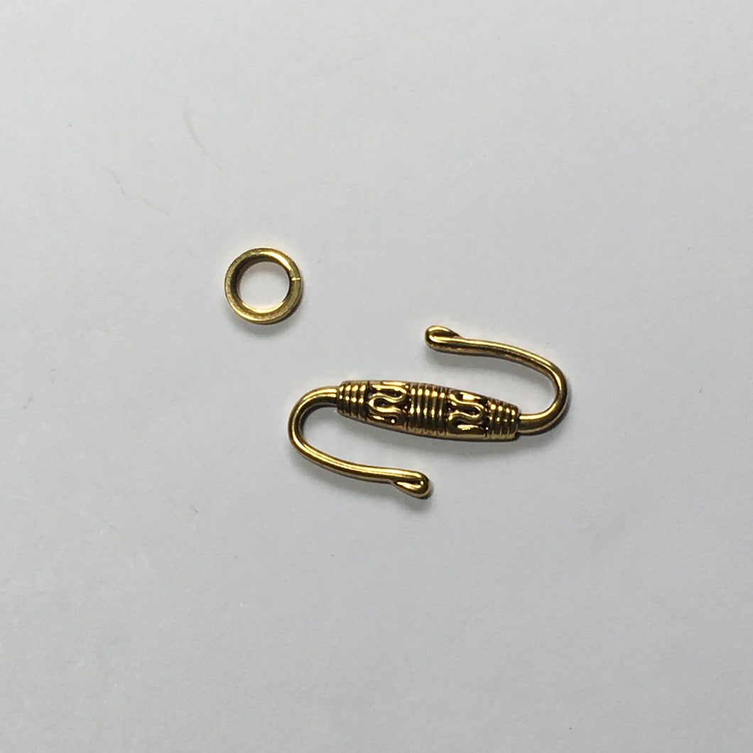 Antique Gold 25 mm S Hook with Carved Middle and Solid Ring 7 mm