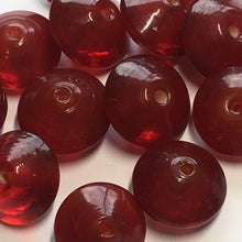Load image into Gallery viewer, Transparent Red Large Lampwork Glass Saucer Beads, 16 mm, 10 mm Thick, 16 Beads
