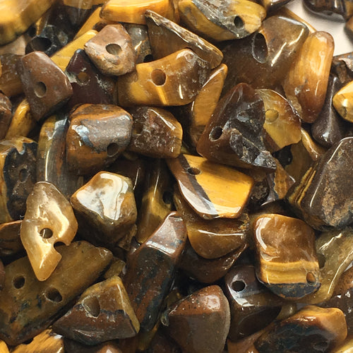 Tiger's Eye Semi-Precious Stone Chips, 7.5 or 10 gm