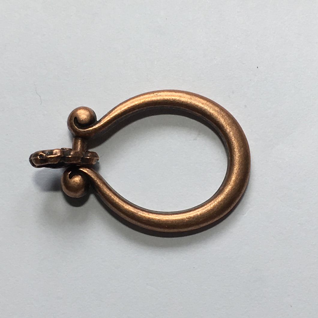 Copper Horseshoe Loop Clasp 25 x 20 mm, Connector 10 x 5 mm - Hook Not Included