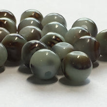 Load image into Gallery viewer, Green with Brown Pattern Glass Round Beads, 6 mm, 24 Beads
