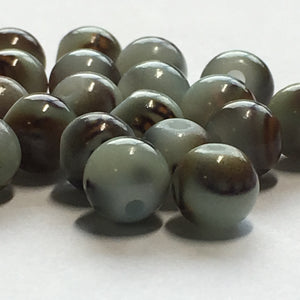 Green with Brown Pattern Glass Round Beads, 6 mm, 24 Beads