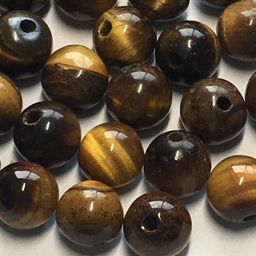 Tiger's Eye Semi-Precious Stone Round Beads, 6 mm, 20 Beads