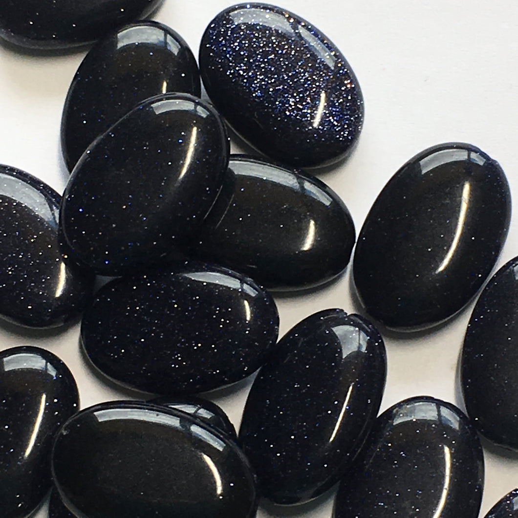 Blue Goldstone Semi-Precious Stone Oval Flat Beads, 16 x 10 x 5 mm, 18 Beads