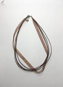 Brown Organza Ribbon and Cord Necklaces 16-Inch