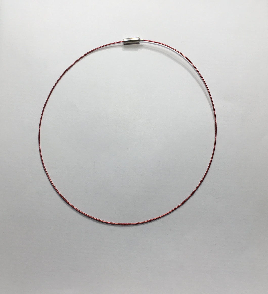 Red Nylon-Coated Twisted Wire Choker with Screw Closure, 16-Inch