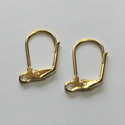 20-Gauge 18 mm Gold Plated Lever Back Kidney Ear Wires - 1 Pair