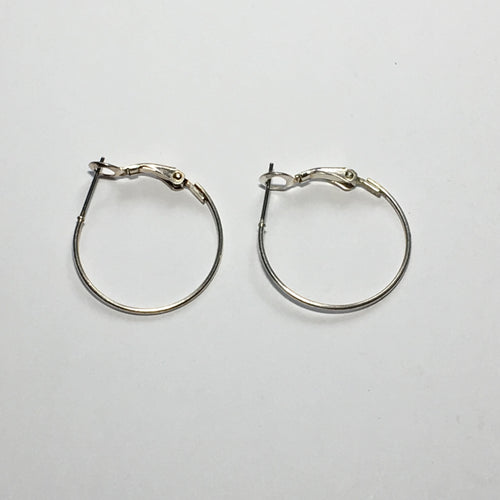 Silver Lever Back Earring Hoops 25 mm - 1 pair