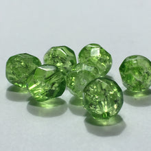 Load image into Gallery viewer, Green Crackle Glass Faceted Beads, 8 mm - 24 Beads