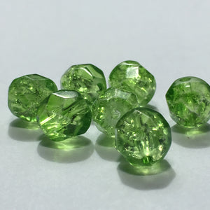 Green Crackle Glass Faceted Beads, 8 mm - 24 Beads
