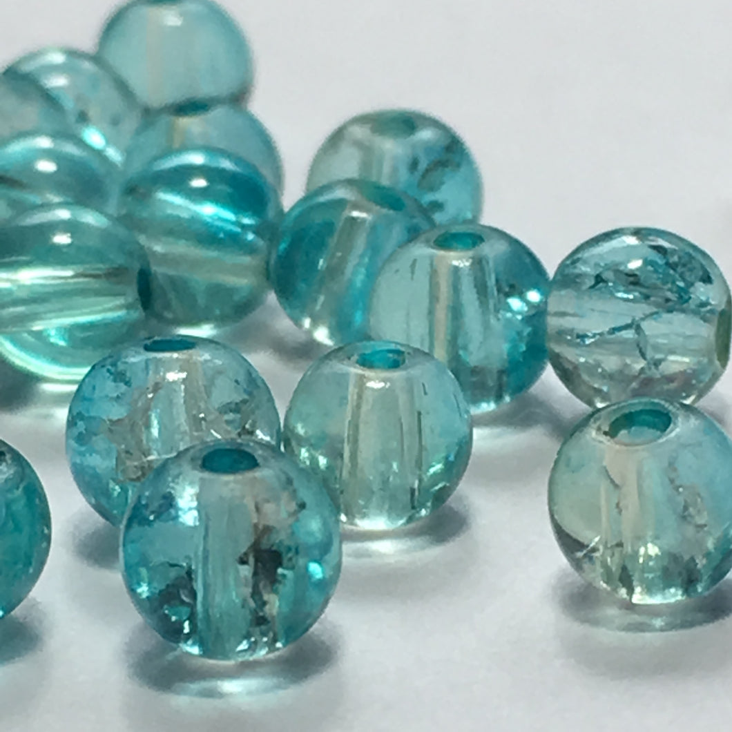 Blue Crackle Glass Round Beads, 4 mm - 30 Beads