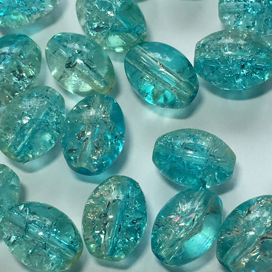 Blue Crackle Glass Oval Beads, 8 x 6 mm - 21 Beads