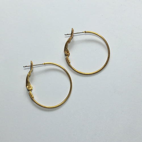 Gold Lever Back Earring Hoops 25 mm - 1 pair