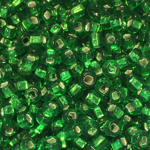 11/0 Transparent Kelly Green Silver Lined Square Hole Seed Beads, 5 or 10 gm
