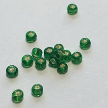 Load image into Gallery viewer, 11/0 Transparent Kelly Green Silver Lined Square Hole Seed Beads, 5 or 10 gm