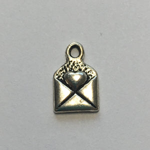 "Antique Silver ""Made with Love"" Heart in Envelope Charm, 10 x 6 mm"