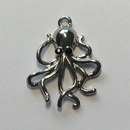 Silver Octopus Charm, 27 x 22 mm
