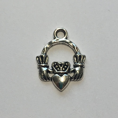 Silver Claddagh Caged Hearts Charm, 17 x 13 mm