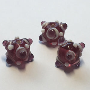 Bumpy Pink Round Glass Lampwork Beads, 11 mm, 3 Beads