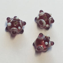 Load image into Gallery viewer, Bumpy Pink Round Glass Lampwork Beads, 11 mm, 3 Beads