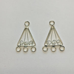 Silver Plated Chandelier Filigree Scroll Triangle Earring Findings 24 x 13 mm - 1 pair