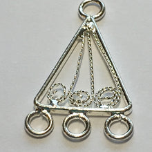 Load image into Gallery viewer, Silver Plated Chandelier Filigree Scroll Triangle Earring Findings 24 x 13 mm - 1 pair