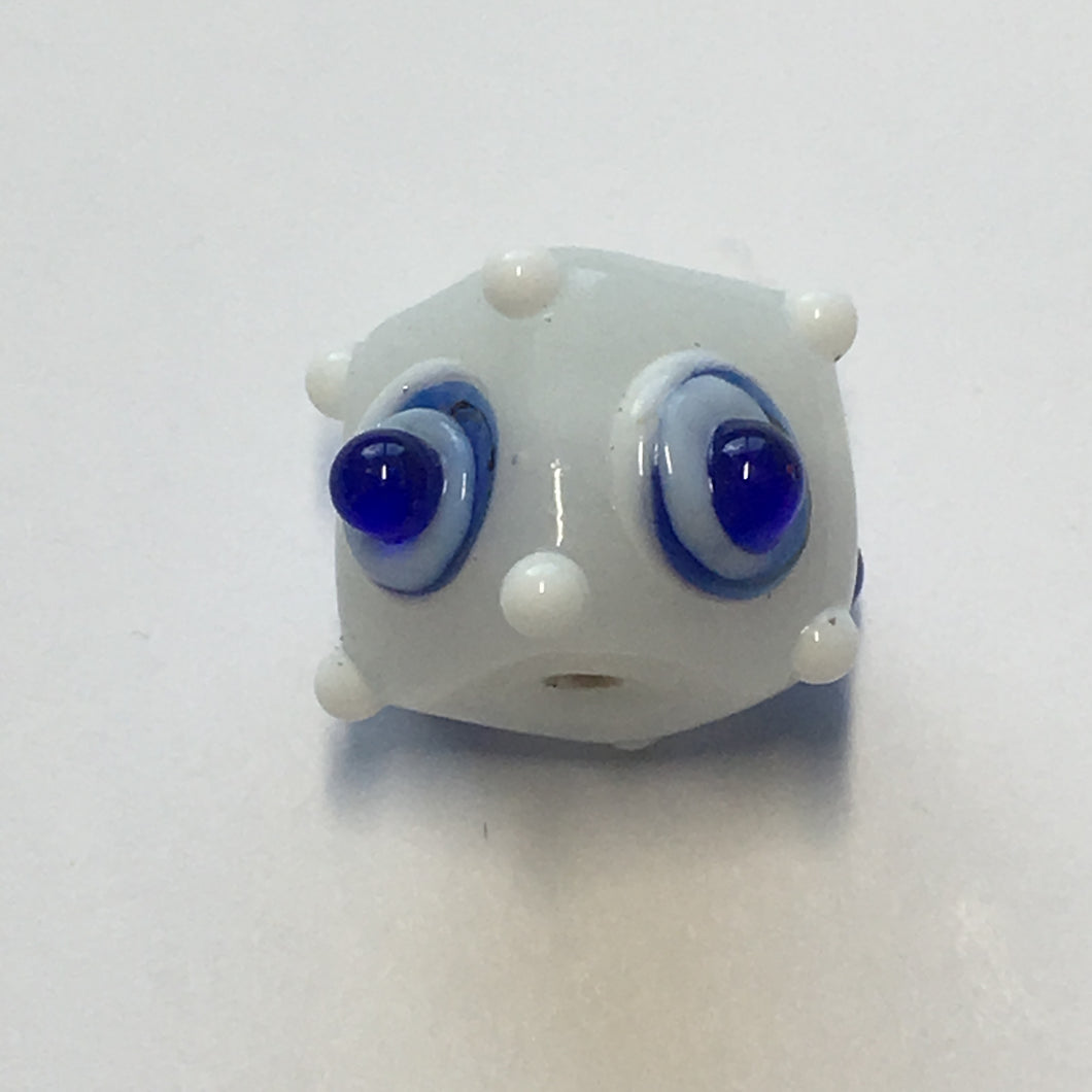 Bumpy White Square Glass Lampwork Focal Bead, 13 x 12 mm