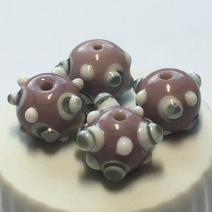 Bumpy Purple Round Glass Lampwork Beads, 11 mm - 4 Beads