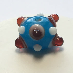Bumpy Blue Round Glass Lampwork Focal Bead, 10 mm