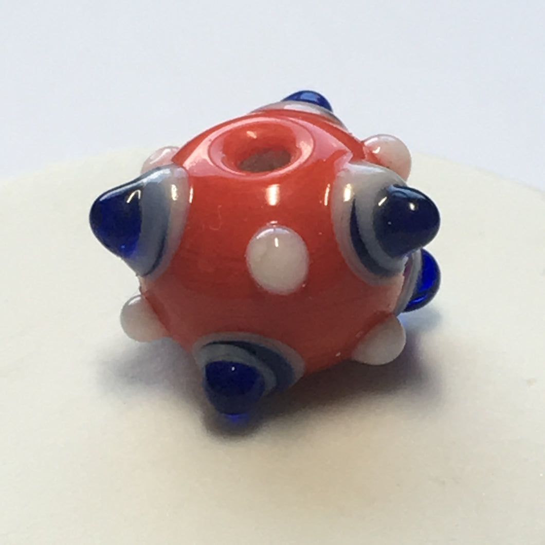 Bumpy Red Round Glass Lampwork Focal Bead, 11 mm