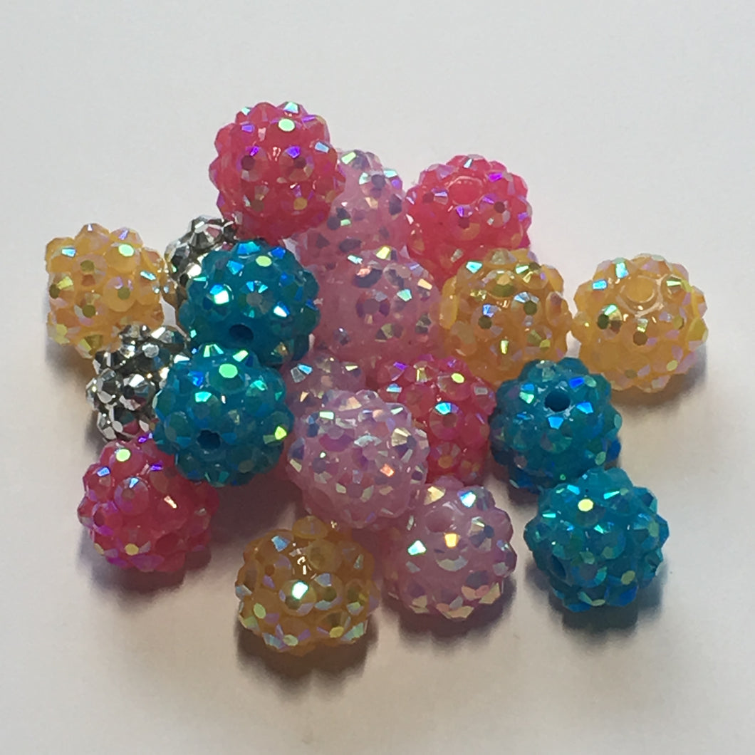 Acrylic Berry Beads, Assorted Colors, 10 mm, 19 Beads