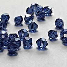 Load image into Gallery viewer, Swarovski Crystal Dark Sapphire Faceted Bicone Beads, 4 mm, 34 Beads