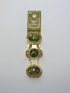 Bead Gallery Green AB Resin Multi Round Gold Metal Sliders, 32 x 20 and 28 x 24 mm, 3 Sliders