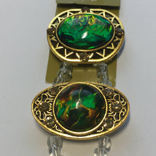 Load image into Gallery viewer, Bead Gallery Green AB Resin Multi Round Gold Metal Sliders, 32 x 20 and 28 x 24 mm, 3 Sliders