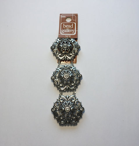 Bead Gallery Slider Metal Rococo Beads with Crystals, 39 x 34 mm - 3 Beads