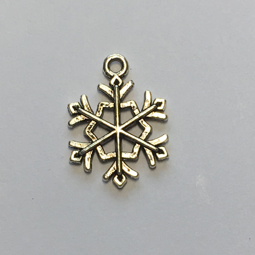 Antique Silver Snowflake Charm, 21 x 15 mm