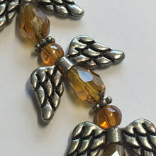 Load image into Gallery viewer, Bead Gallery Amber Brown Glass Faceted Drop Beads with Antique Silver Wings Beads, 7 of Each Bead