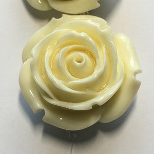 Bead Gallery White Reconstituted Stone Large Flower, 28 x 17 mm - 4 Beads
