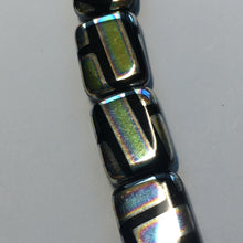 Load image into Gallery viewer, Bead Gallery Czech Black Glass Rectangle AB Beads, 14 x 18 mm, 6 mm Thick, 6 Beads