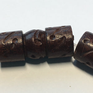 Bead Gallery Brown Wooden Carved Multi-Shape Beads, 23 x 10 mm, 7 Beads