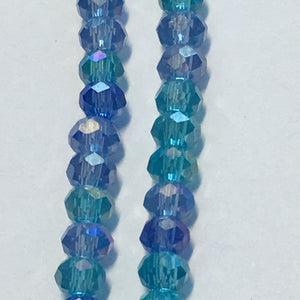 Bead Gallery Blue Glass Rondelle Mix, 2 x 3 mm, 10-Inch Strand