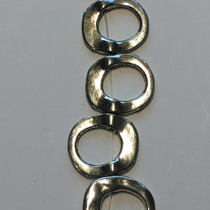 Bead Gallery Silver Plated Metal Round Frame Beads, 17 x 15 mm - 12 Beads
