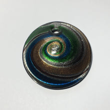 Load image into Gallery viewer, Dichroic Copper Green Blue Silver Swirl Domed Pendant, 50 x 15 mm